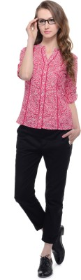 A Luv Ya Casual 3/4 Sleeve Paisley Women's Red Top