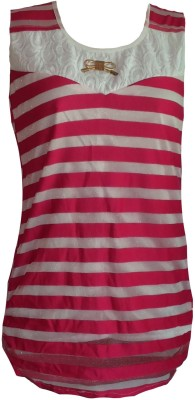 F&S Casual Sleeveless Solid Girl's Pink Top