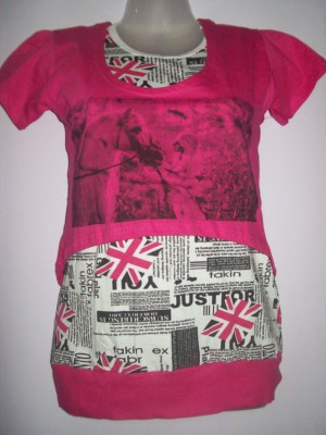 FASHION APUVILLA Casual Short Sleeve Graphic Print Women's Pink Top