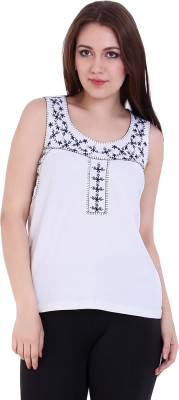 Rat Trap Casual Sleeveless Embroidered Women's White Top