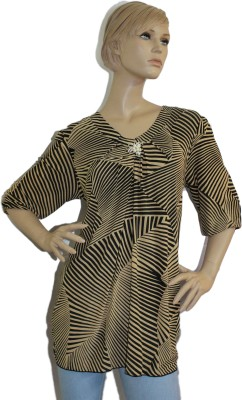 SayAlo Casual, Party 3/4 Sleeve Chevron Women's Beige Top