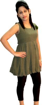 Shonaa Casual Sleeveless Printed Women's Dark Green Top