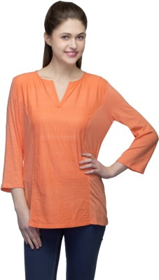 One Femme Casual, Lounge Wear 3/4 Sleeve Embroidered Women,s Orange Top