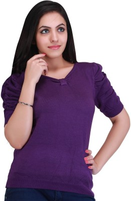 Nirosha Casual Short Sleeve Solid Women's Purple Top