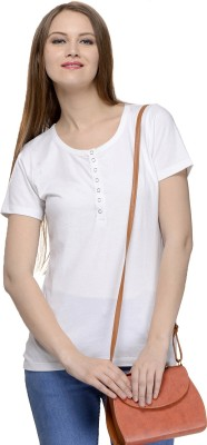 Calgari Casual Short Sleeve Solid Women's White Top