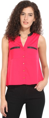 Hook & Eye Casual Sleeveless Solid Women's Pink, Black Top