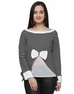 Eavan Casual Full Sleeve Striped Women's White Top