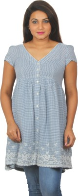 Old Khaki Casual Short Sleeve Checkered Women's Blue Top