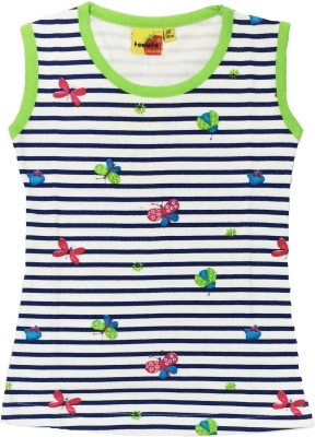 Tomato Casual Sleeveless Striped Girl's White, Blue, Green Top