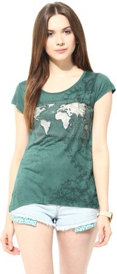 Fritzberg Casual Cap sleeve Printed Women's Green Top