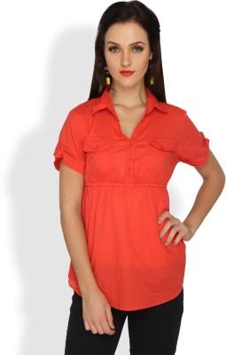 Ten on Ten Casual Short Sleeve Solid Women's Orange Top