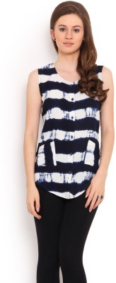 La Arista Casual Sleeveless Printed Women's White, Blue Top