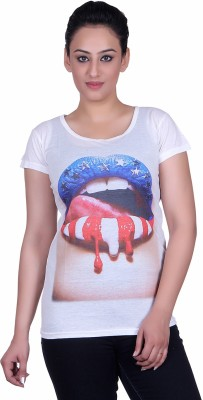 Sellsy Casual Short Sleeve Printed Women's White Top