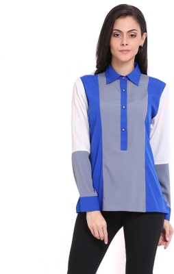 Ridress Casual Full Sleeve Striped Women's Grey, Blue, White Top