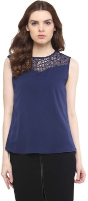 The Office Walk Formal Sleeveless Solid Women's Blue Top