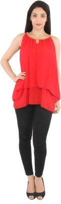 Tenn Casual Sleeveless Solid Women's Red Top