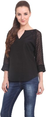 Trend Arrest Casual 3/4 Sleeve Solid Women's Black Top