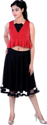 Divaz Fashion Casual, Party Sleeveless Solid Women's Red, Black Top