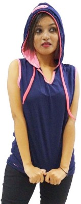 Zebra Path Casual Sleeveless Solid Women's Dark Blue Top