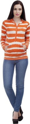 MansiCollections Casual Full Sleeve Striped Women's Orange Top