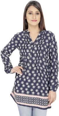 Franclo Casual Full Sleeve Floral Print Women's Blue Top