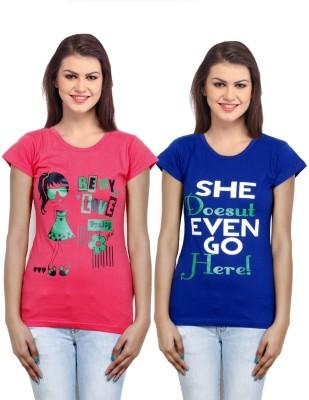 IndiWeaves Casual Short Sleeve Printed Girl's Pink, Blue Top