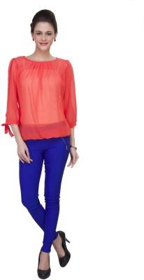 IshinDesignerStudio Casual 3/4 Sleeve Solid Women's Red Top