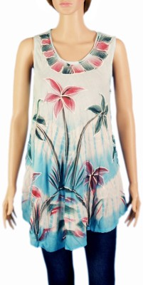 VR Designers Casual, Beach Wear Sleeveless Embroidered Women's Multicolor Top