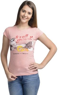 Looney Tunes Casual Short Sleeve Printed Women's Pink Top