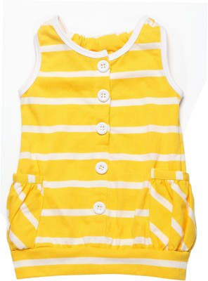 Little Kangaroo Casual Sleeveless Striped Girl's Yellow Top
