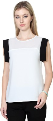 Van Heusen Casual Sleeveless Solid Women's White Top