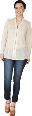 SOIE Casual Full Sleeve Solid Women's White Top
