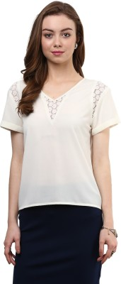 Rare Casual Short Sleeve Solid Women's White Top