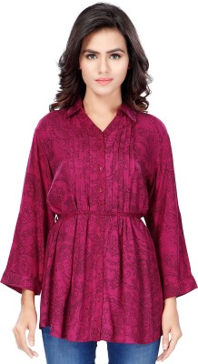 SFDS Casual, Formal, Party 3/4 Sleeve Printed Women's Maroon Top