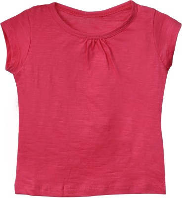 Ffashionstylus Casual Short Sleeve Solid Girl's Pink Top
