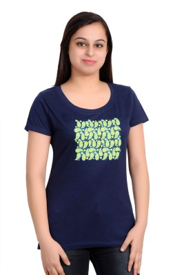 Parv Collections Casual Short Sleeve Printed Women's Blue Top