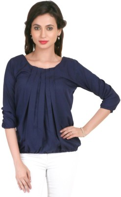 Big Tree Casual 3/4 Sleeve Solid Women's Blue Top