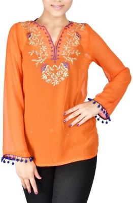 Palette Casual Full Sleeve Embroidered Women's Orange Top