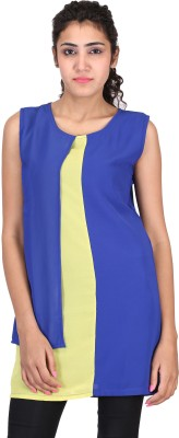 Sheezworld Casual Sleeveless Solid Women's Blue, Yellow Top