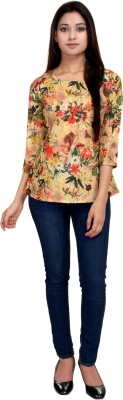 LA VERVE Casual 3/4 Sleeve Printed Women's Multicolor Top