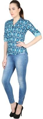 Kg&S Casual Short Sleeve Printed Women's Blue Top