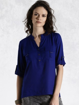 Roadster Casual 3/4 Sleeve Solid Women's Blue Top