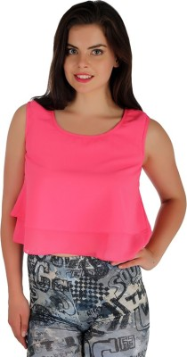 Holidae Casual Sleeveless Solid Women's Pink Top