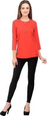Rumara Casual 3/4 Sleeve Solid Women's Red Top
