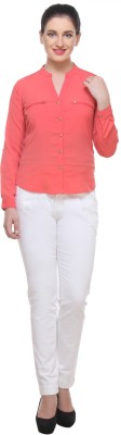 Saffora Fashion Casual Full Sleeve Solid Women's Pink Top
