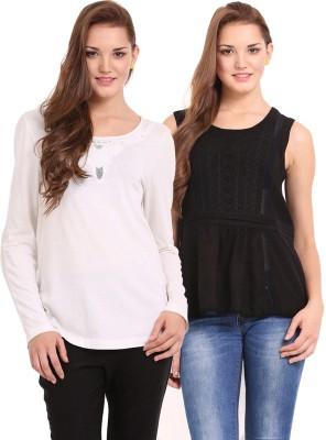 Femenino Casual Full Sleeve Solid Women's Black, Beige Top
