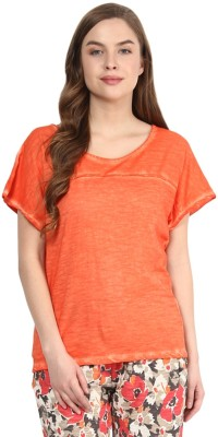 Rose Vanessa Casual Short Sleeve Solid Women's Orange Top