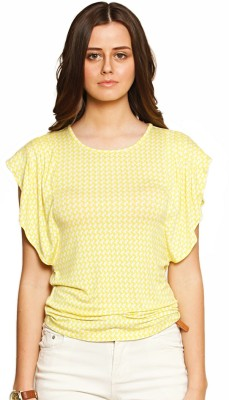 Zink London Casual Butterfly Sleeve Printed Women's Yellow Top