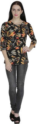 Svt Ada Collections Casual 3/4 Sleeve Printed Women's Black, Multicolor Top