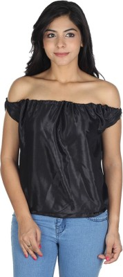 Augadh Casual Sleeveless Solid Women's Black Top